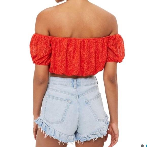 dc5007087210c 💋5  20 Topshop red lace off the shoulder crop top